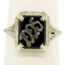 1925 Antique Art Deco 14k White Gold Prong Set Black Onyx Filigree Dinner Ring