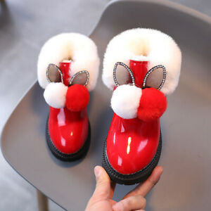Girls Fur Lined Ankle Boots Winter Warm Flat Boots Cute Flat Bootie Shoes Size