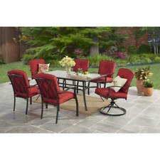 RED 7pc Patio Garden Dining Furniture Set Glass Table Swivel Chair Kit Clearance