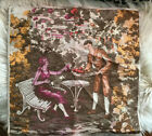 """Tapestry Fabric Pillow Farmable Couple Pink Orange Brown Victorian 19x19"""" Square"""
