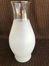 """3 3/8"""" x 9.75"""" Vintage Art Deco Frosty/ Clear Glass Chimney Hurr. Lamp Shade #15"""