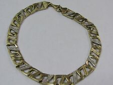 10K Yellow Gold Rectangular Link Bracelet With Diamond Chips 8.5""