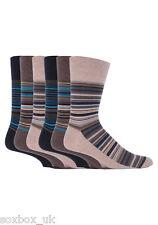 6 Pairs Mens Gentle Grip Socks Size 6-11 Uk, 39-45 Eur MGG50 Beige/Brown Stripe