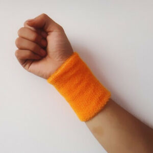 2x Unisex Cotton Wrist Wristband Sport Towel Sweatband Solid Sweat Band Yoga Gym