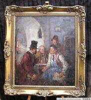 """Rudolf WOLF;Leipzig-München;""""Die Dorfpolitiker""""; Öl/Lwnd. 80x70 cm; gerahmt"""