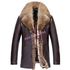 Mens Fur Collar Leather Jacket Fur Lined Thicken Coat Outwear Parka Warm 2017