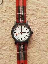 Mondaine Essence  Red Tartan Strap Swiss Railways Watch MS1.32111.LC