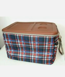 NEW - Red & Blue PLAID ROLLING COOLER Collapsible Soft-Sided Wheels 20 x 14 x 16