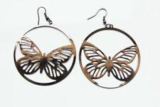 Bronze Pewter Silver 2 in Lightweight Metal Butterfly Circular Dangle Earrings