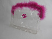 Clear Vinyl PVC See Thru Jelly Candy Plastic Shopping Tote Hand Bag Makeup Purse