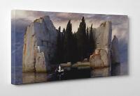 Arnold Bocklin L'Isola dei Morti Quadro Stampa su TELA Cotone Vernice Pennellate