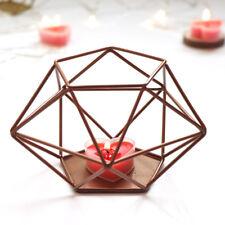 3D Gold Geometric Metal Candlestick Tealight Candle Holder Wedding Home Decor