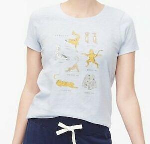 J. Crew Factory Collector Tee Graphic Women's  Safari Yoga  T-SHIRT Size L  Blue