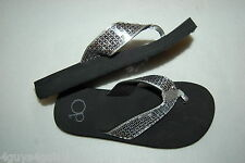 8ae5471b65b Womens BLACK FLIP FLOPS w  SILVER SEQUIN COVERED STRAP Ocean Pacific SIZE S  5-