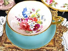 HAMMERSLEY TEA CUP AND SAUCER FLORAL  PAINTED PATTERN TEACUP ARTIST SIGNED BLUE