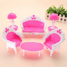 6Pcs Miniature Furniture Living Room Set Sofa Chair Table Lamp Doll House Toy