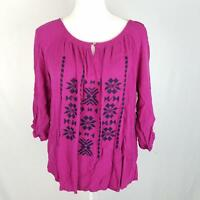 New Directions Top Blouse L Large Embroidered Keyhole ¾ Sleeve Stretch Peasant