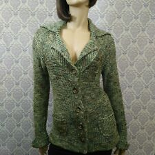 BCBGMAXAZRIA Womens Size L Cardigan Sweater Fitted Chunky Knit Soft Green Career