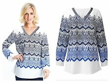 WHITE IVORY & NAVY SEQUIN TUNIC TOP - SIZE 14 / 16 - BNWT