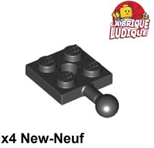 Lego x 4 - Flat Modified 2x2 Towball and Hole Black/Black 15456 New