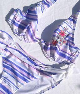 Y2k Deadstock Vintage pink blue purple Bikini Bra 00 90s stripe belted swimsuit