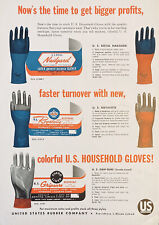 1954 AD.(XG20)~UNITED STATES RUBBER CO. PROV., RI. HOUSEHOLD RUBBER GLOVES