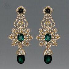 18K Gold Plated GP Green Crystal Rhinestone Chandelier Drop Dangle Earrings 473