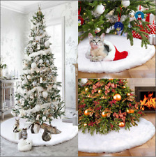 Pretty Christmas Tree Skirt Base Floor Mat Cover White Long Plush Xmas Decor