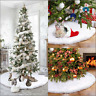 Huge Round Snowflake Plush Christmas Tree Skirt Floor Mat Cover Home Party Decor