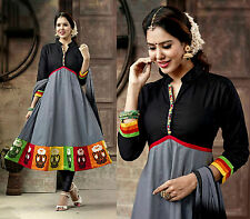 GRAY DESIGNER ANARKALI COTTON SALWAR KAMEEZ SUIT PARTY DRESS MATERIAL LADIES DEN