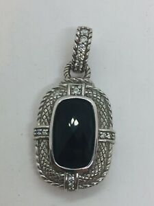 Judith Ripka Sterling Silver CZ & Black Faceted Onyx Pendant