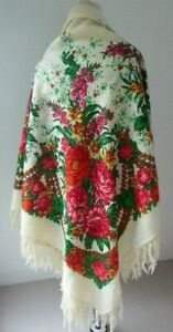 Traditional Russian peasant folk floral print wool v. large fringed shawl scarf