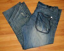 FUSAI Jeans Focus USA Inc Straight Fit Blue Crinkled Denim Size 42x32 Fits 43x30