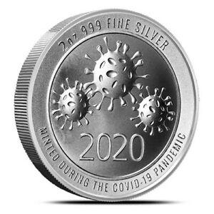 2020 - 2oz AG Envela .999 Fine Silver Round High Relief CV-19 Edition In Stock!!