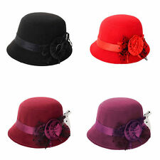 KF_ HK- Women Floral Bowler Hat Solid Color Cap for Party Prom Outdoor Travel