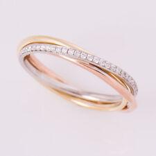 Diamond Engagement Wedding Ring 0.20 Ct Round Cut Solitaire 14K Multi Tone Gold