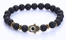 Lava Stone Chakra Natural Stone Bracelet With Gold Hand of Hamsa Reiki Healing