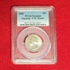 1942-P Washington Silver Quarter ~PCGS UNC. DETAILS CLEANING~