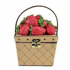 Kate Spade Picnic Strawberry Woven Leather Basket Bag in Cashew PXRU8528