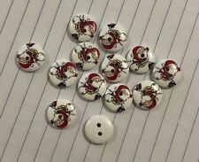 10pc Wooden Christmas Santa Buttons 15mm D493 Aussie Seller