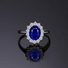 Bague argent sterling 925 et pierre naturelle saphir, bleu, cabochon, neuve