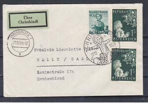 1953 Christkindl ECHT gel. Portorichtiger Auslandsbrief m.Leitzettel gestempelt