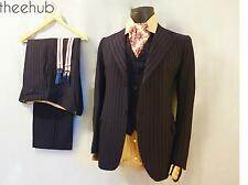 1940s Vtg CC41 Montague Burton 3 Piece Suit Pinstripe Blue Contoured Fly Button