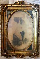 ANTIQUE 1830s AMERICAN PROFILE PORTRAIT FINE ART WATERCOLOR PAINTING NH ORIGIN