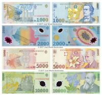 Romania 1000 + 2000 + 5000 + 10000 Set of 4 Banknotes 4 PCS UNC