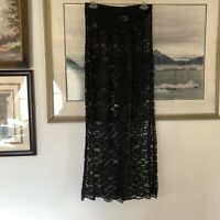 VTG E.D. Lee Black Floral Lace Sheer Cover Up Pants Sz M A173