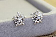 Women Jewelry Elegant 925 Sterling Silver Snowflake Zircon Ear Stud Earrings