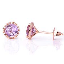 PINK LAVENDER AMETHYST & DIAMOND HALO 14K ROSE GOLD MARTINI GLASS STUD EARRINGS