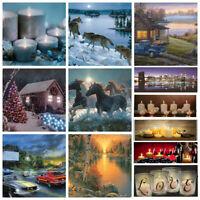 Lumière LED Éclairage Noël Toile Peinture Rivière Chevaux Mural Art Décor