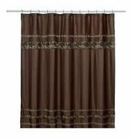 NEW - Mosaic Mocha Brown Fabric Shower Curtain and Hooks Set by Croscill